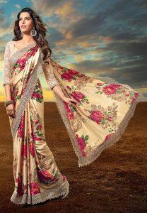 floral-printed-satin-saree