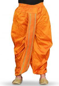 Contrasting Border Art Silk Dhoti in Orange