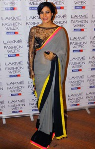 Grey Saree with Neon Border