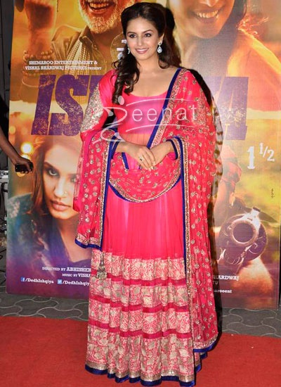 Huma Qureshi in Abaya Style Churidar Kameez