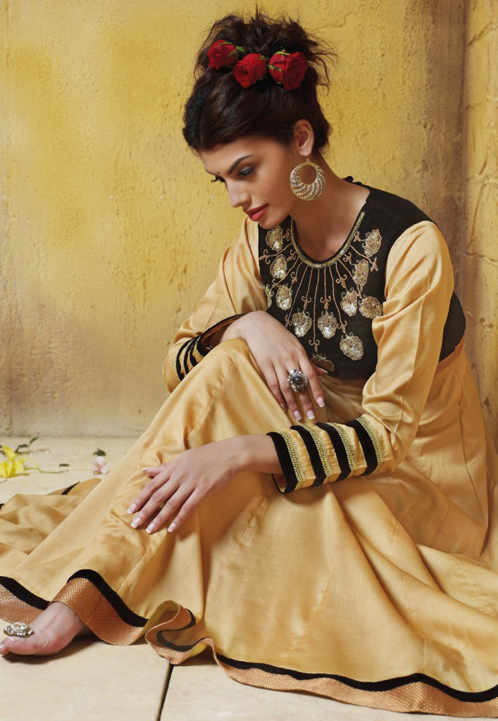 Beige and Black Art Silk Readymade Abaya Style Churidar Kameez