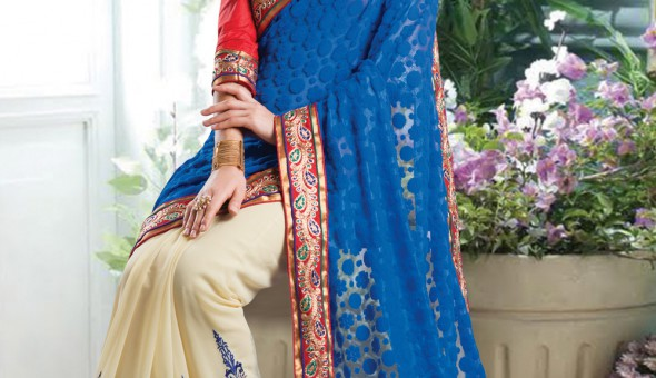 Net Brasso and Faux Georgette Saree at Utsav Fashion