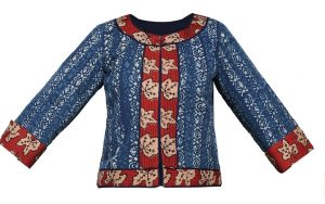 Printed Cotton Jacket in Blue