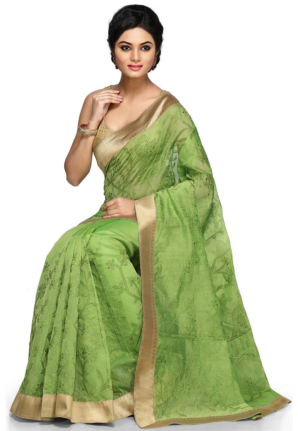 A Green Saree. (Image: Utsavfashion.com)