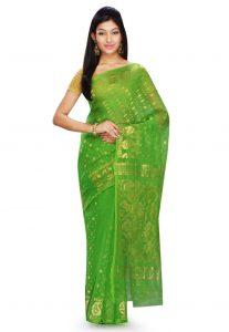 Bengal Handloom Cotton and Silk Jamdani Saree in Green