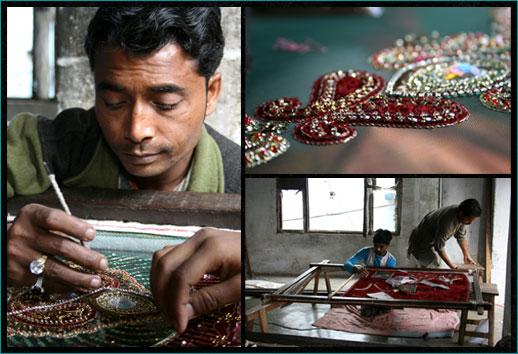 LucknowZardozi made with an Ari on a frame/Adda