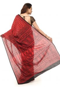 Block Printed Cotton Maheshwari Saree In Coral