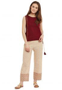 Block Printed Cotton Top With Pant in Maroon and Beige