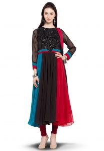 Embroidered Anarkali Georgette Suit in Multicolor