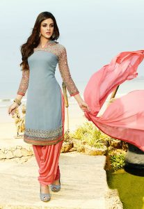 Georgette Punjabi Suit With Peach Chiffon Dupatta