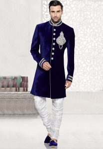 Embroidered Velvet Sherwani in Blue
