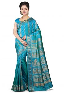 Handloom Pure Sournachuri Silk Saree in Teal Blue