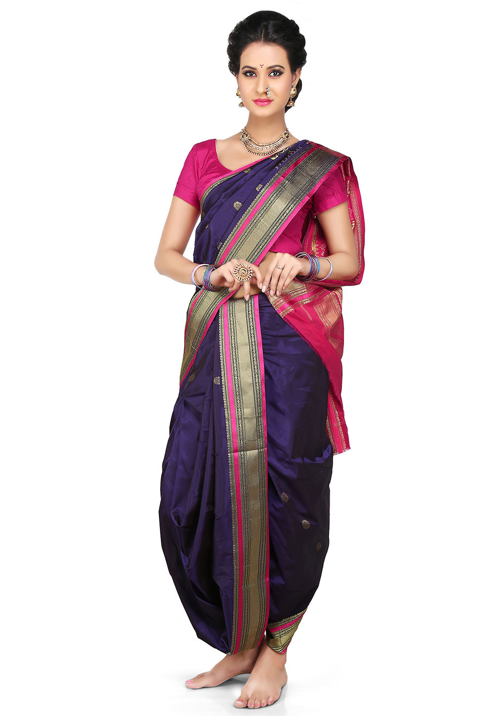 Nauvari Sarees 9 Yards Saree From Maharashtra Utsavpedia