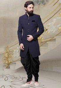 Plain Khadi Dhoti Sherwani in Navy Blue