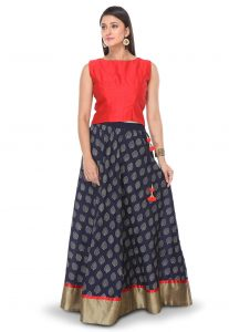 Printed Cotton Skirt in Blue