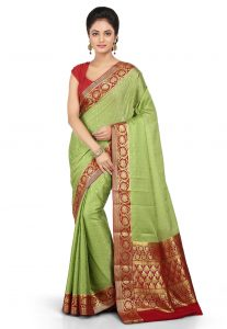 Woven Pure Mysore Silk Saree in Light Green
