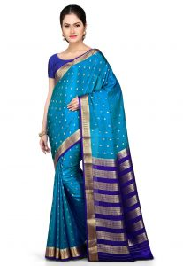 Woven Pure Mysore Silk Saree in Teal Blue