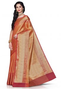 Woven Tanchoi Silk Saree in Orange