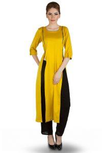 yellow-satin-kurta