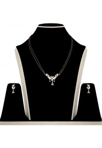 American Diamond Mangalsutra in White and Pink