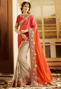 Half N Half Chiffon Saree in Orange and Beige