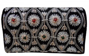 Black Velvet Dabka Clutch at Utsav Fashion
