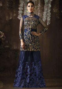 Embroidered Art Silk Lehenga in Navy Blue