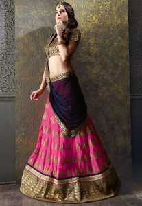 Embroidered Georgette A Line Lehenga in Pink