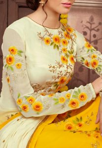 Embroidered Georgette Straight Cut Suit in Shaded Off White and Yellow