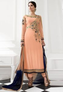 Embroidered Georgette Straight Cut Suit in Peach