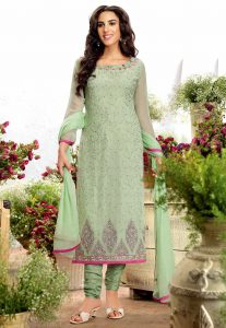 Embroidered Georgette Straight Suit in Pastel Green
