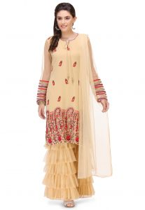Hand Embroidered Georgette Sharara