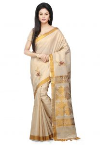 Pure Cotton Kasavu Saree in Beige