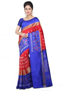 Pochampally Ikat Pure Silk Saree in Red and Blue