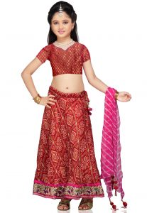 Printed Crepe Lehenga Sets in Red