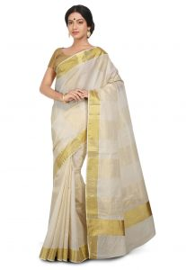 Woven Kerala Kasavu Cotton Saree