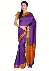 Woven Mangalgiri Cotton Saree in Purple