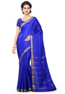 Woven Pure Mysore Silk Saree in Royal Blue