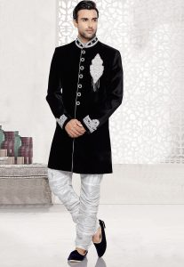Black Velvet Sherwani For Grooms