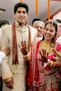 Vijender Singh with Archana marriage pic