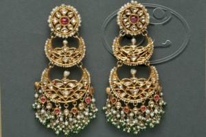 Intricately Embellished, Multi-Layered Kundan Earrings (Image: https://www.pinterest.com)