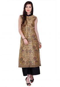 Block Printed Art Silk Long Kurta in Beige