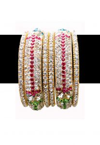 Stone Studded Bangle Set in Multicolor