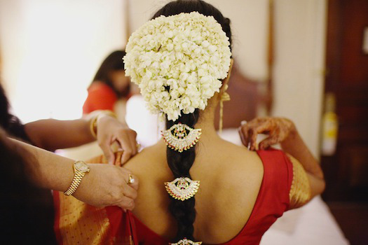 Hair decoration is a vital part of the 16 bridal adornments in Hindu wedding.