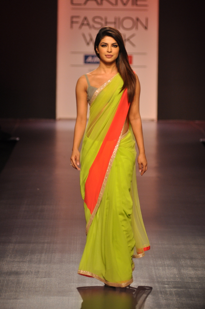 Priyanka Chopra in a Neon Saree