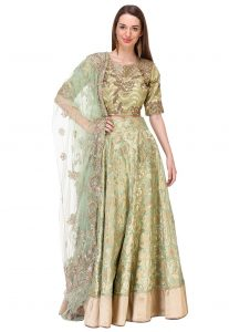 Pure Banarasi Silk Hand Embroidered Lehenga in Olive Green