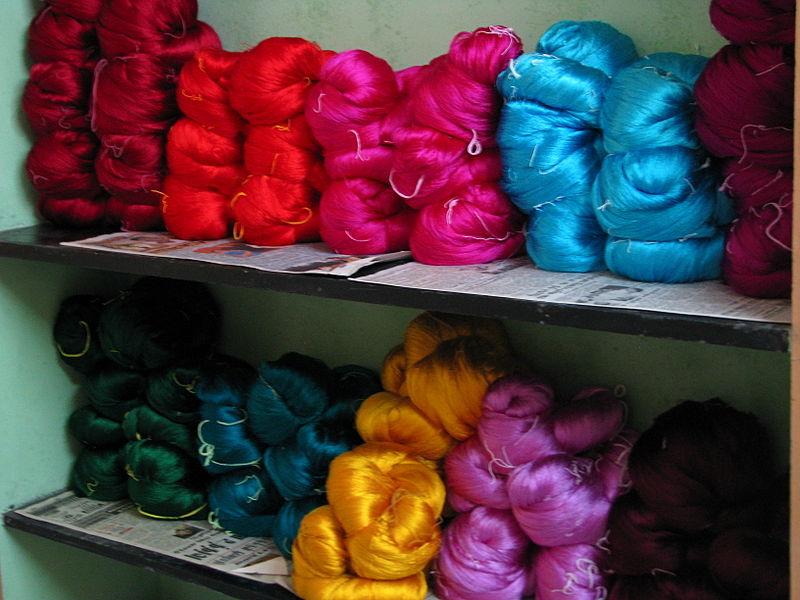 Shiny Silk Yams Ready to Weave