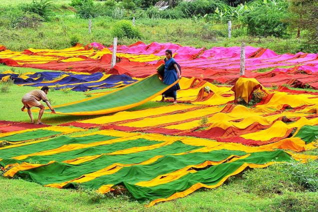 Sungudi' saris being dried after dying (Image Courtesy: The Hindu)