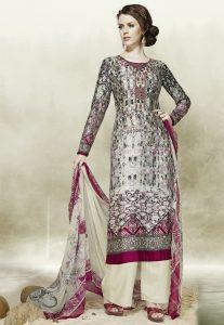 Digital Printed Cotton Pakistani Suit in Grey