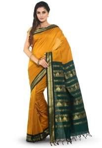 Woven South Cotton Saree in Yellow